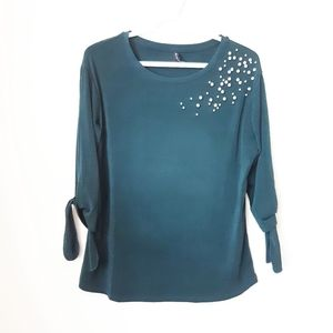 Amanda Green Top with Pearl Details